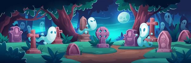 Cementerio con fantasmas por la noche.