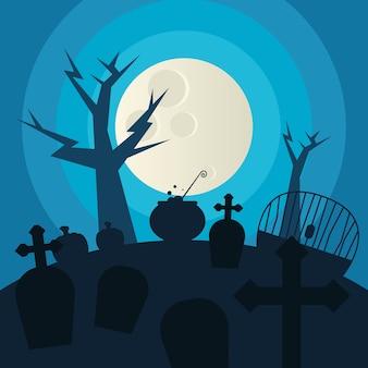 Cementerio de halloween y árbol en el diseño de la noche, tema aterrador