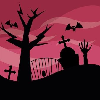 Cementerio de halloween y árbol por la noche, vacaciones e ilustración de miedo