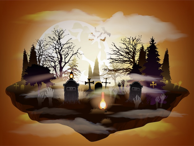 Cementerio de halloween paisaje de luna