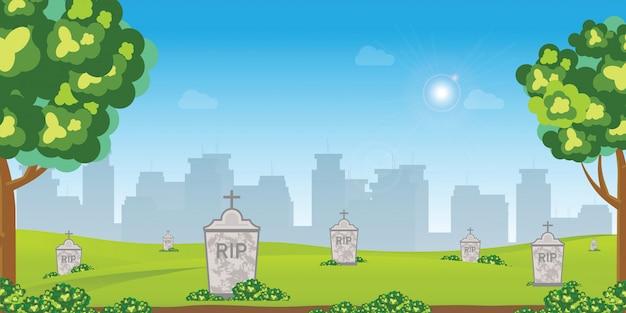 Cementerio con lápidas antiguas entre hierba verde con flores y árboles.