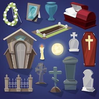 Cementerio de miedo cementerio y horror de halloween en la noche ilustración conjunto de tumba espeluznante o tumba y lápida aislado en el fondo