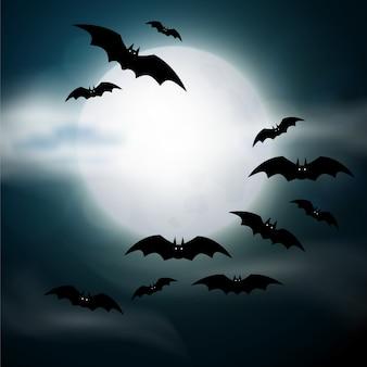 Cementerio nocturno, cruces, lápidas y tumbas. ilustración colorida de halloween de miedo.