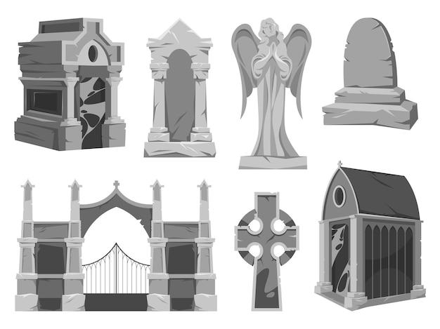 Cementerio o elementos de cementerio establecer iconos vectoriales
