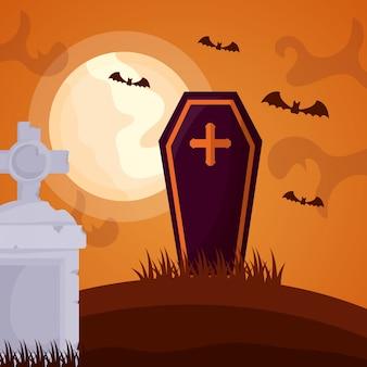 Cementerio oscuro de halloween con ataúd