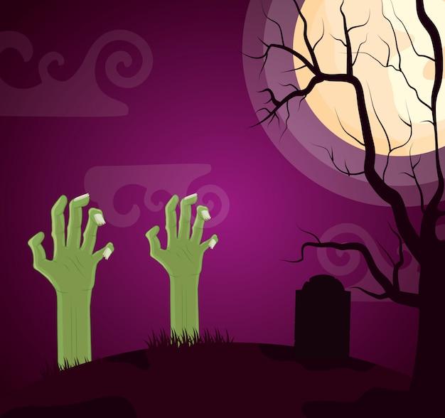 Cementerio oscuro de halloween con mano zombie