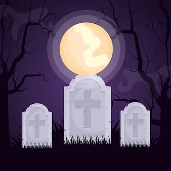 Cementerio oscuro de halloween