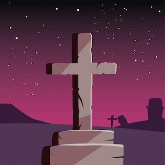 Cemento cruz feliz celebración de halloween