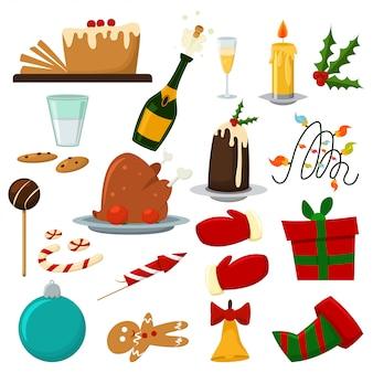 Cena de comida navideña con budín, una botella de champán, pavo, dulces y galletas, etc.