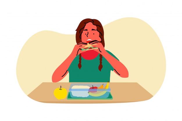 Cena, escuela, comida, descanso, concepto de infancia.