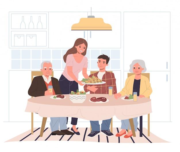 Cena familiar en casa.