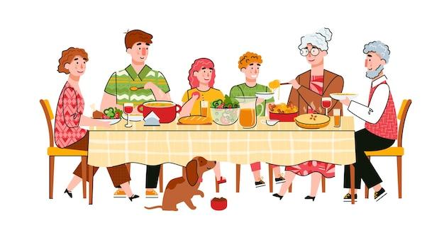 Cena familiar conjunta o celebración de la escena del evento familiar con personajes de dibujos animados de adultos y niños en la mesa