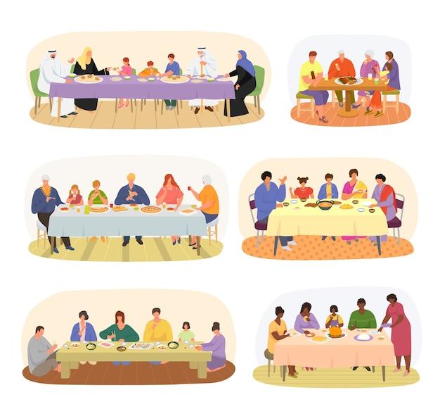 Cena familiar, familias de diferentes nacionalidades sentadas en la mesa de comedor de