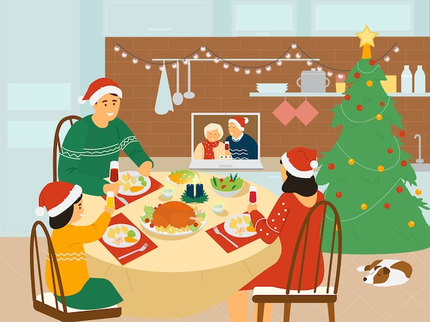 Cena familiar de navidad en casa.