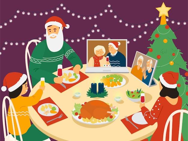Cena familiar de navidad. los padres y el niño sentado a la mesa con navidad