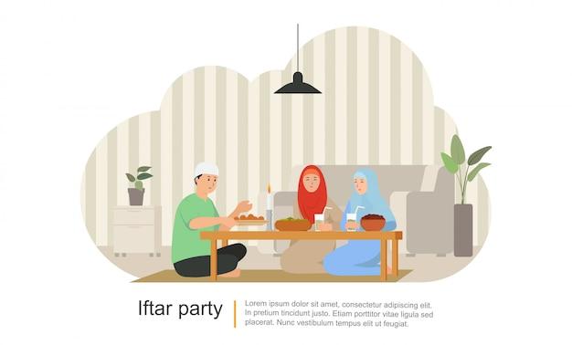 Cena familiar en ramadán kareem o celebrando a eid mubarak