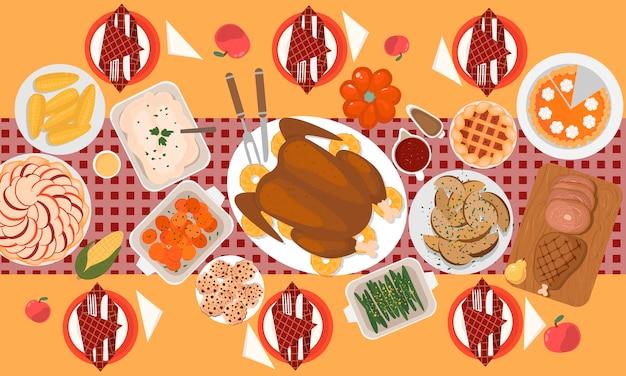 Cena familiar tradicional de acción de gracias con pavo asado, jamón, batata, maíz, guarniciones, pasteles, galletas.