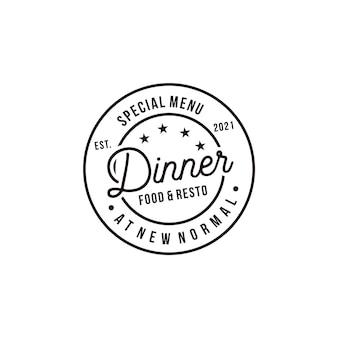 Cena menú especial elementos de logotipo de concepto retro vintage