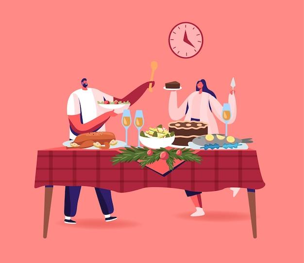 Cena de navidad de pareja joven, personajes masculinos y femeninos felices celebrando las vacaciones de navidad en la mesa
