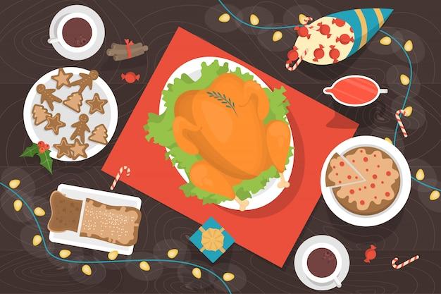 Cena de navidad en la vista superior de la mesa. sabroso delicioso pollo y postre con decoración alrededor. ilustración en estilo de dibujos animados