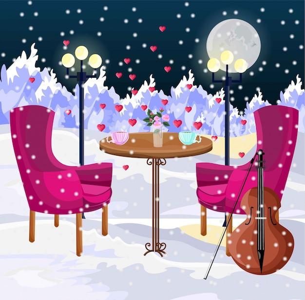 Cena romántica en el aire vector. nevando, invierno, montañas, fondos