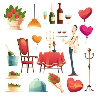 Cena romántica en el día de san valentín.