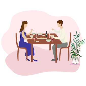 Cena romántica en familia. cena de san valentín. ilustración vectorial plana