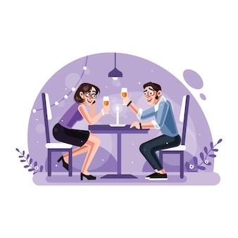Cena romántica a la luz de las velas pareja