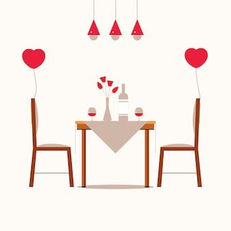 Cena romantica una pareja de enamorados