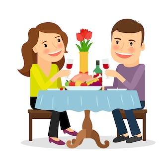 Cena romántica en un restaurante.
