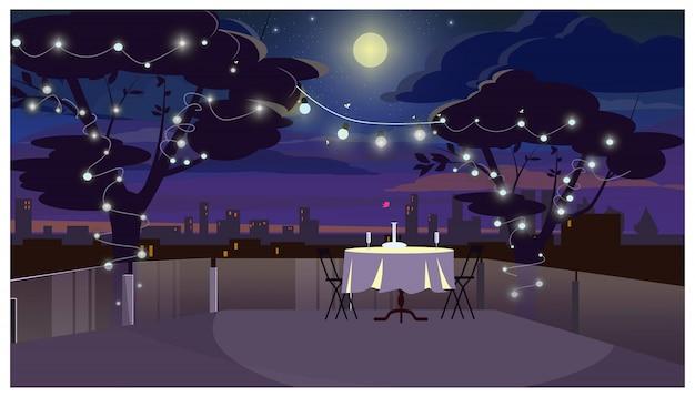 Cena romántica en el techo con ilustración de mesa servida