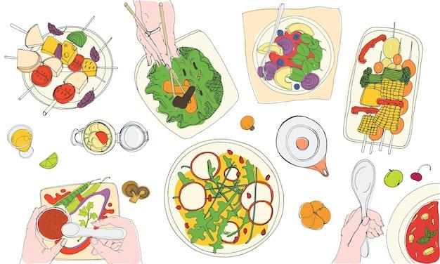Cena vegetariana. sabrosas comidas veganas en platos y manos de personas que las comen