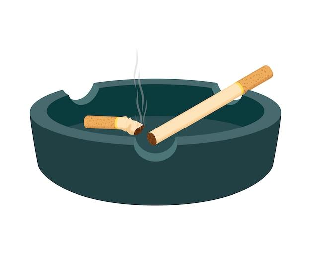 Cenicero con cigarrillos, colilla ahumada, trozo