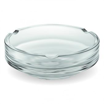 Cenicero de vidrio. tazón transparente vacío aislado