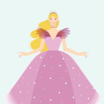 Cenicienta con un hermoso vestido rosa