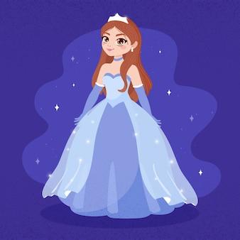 Cenicienta en un vestido largo azul