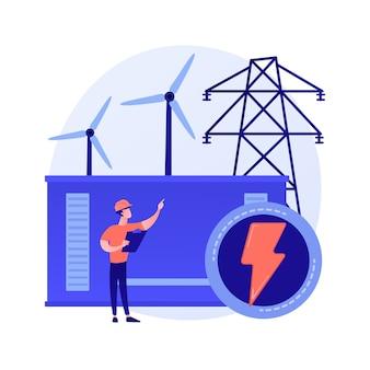Central eléctrica, generación de energía eléctrica, producción de electricidad. personaje de dibujos animados de ingeniero de energía. industria energética, planta eléctrica
