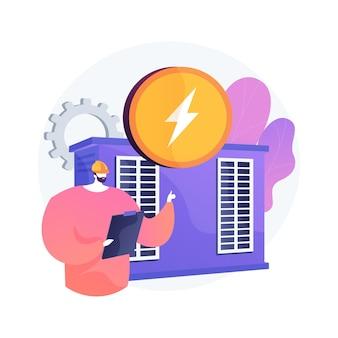 Central eléctrica, generación de energía eléctrica, producción de electricidad. personaje de dibujos animados de ingeniero de energía. industria energética, planta eléctrica.