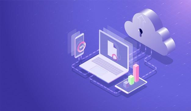 Centro de almacenamiento de datos en la nube y concepto de computación en la nube.