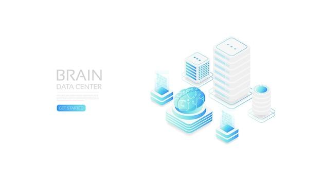 Centro cerebral isométrico, transferencia de datos en línea al dispositivo de gadget
