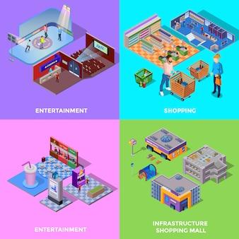 Centro comercial 2x2 icons set