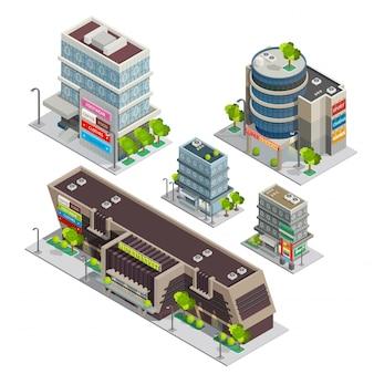Centro comercial edificios complejos composición isométrica