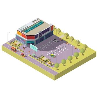 Centro comercial con estacionamiento isométrico.