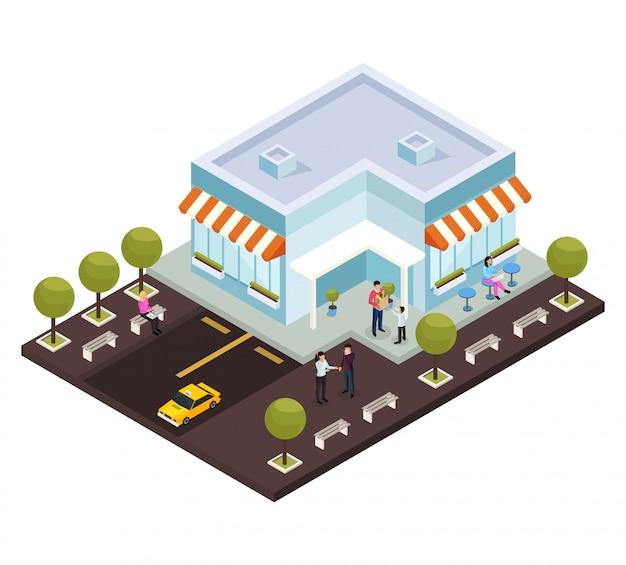Centro comercial isométrico con estacionamiento