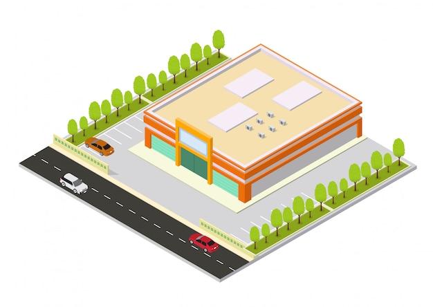 Centro comercial isométrico o edificio de supermercado