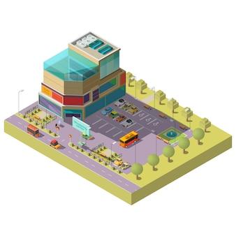 Centro comercial isométrico con zona de aparcamiento.