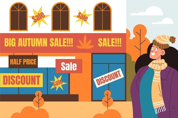Centro comercial plano otoño venta de personas