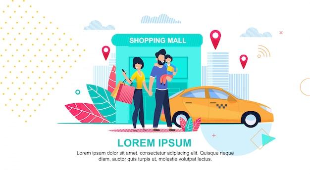 Centro comercial. servicio de taxi en línea. calles de la ciudad.