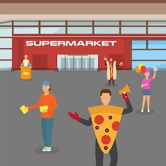 Centro comercial de supermercado, folleto de distribución de publicidad en el mercado, ilustración. personas personaje masculino, femenino dan anuncios piloto.