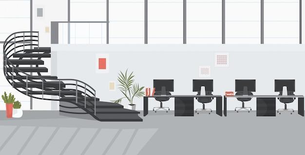 Centro de coworking sin gente vacía con boceto interior de oficina moderna escalera